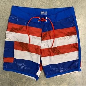 HUK Fishing American Flag USA Marlins Swim Trunks